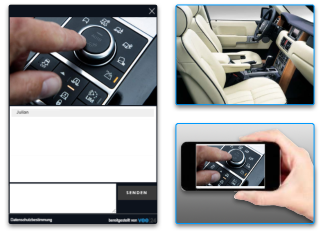 Mobile camera showing Live Chat for automotive
