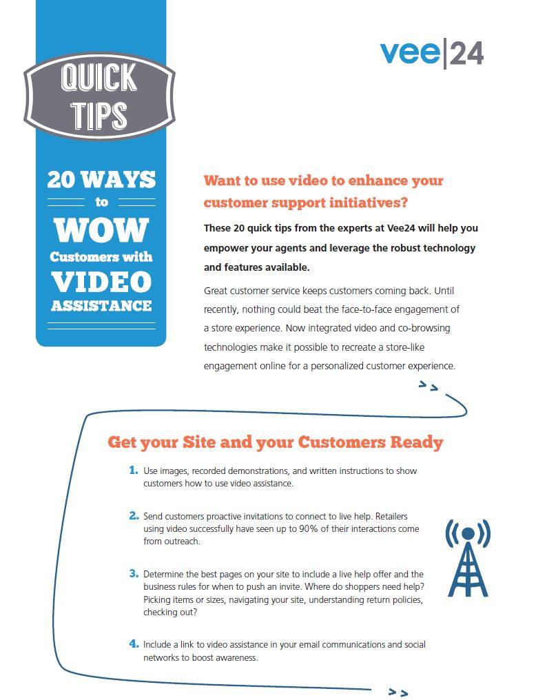 20 ways to wow customers with video assistance quick tips checklist cover vee24 logo