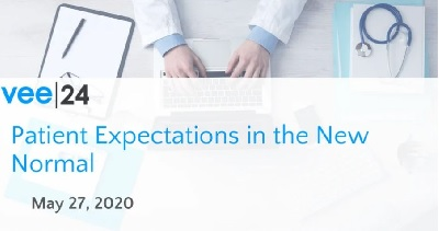 patient expectations in the new normal healthcare vee24 logo doctor looking at laptop at desk
